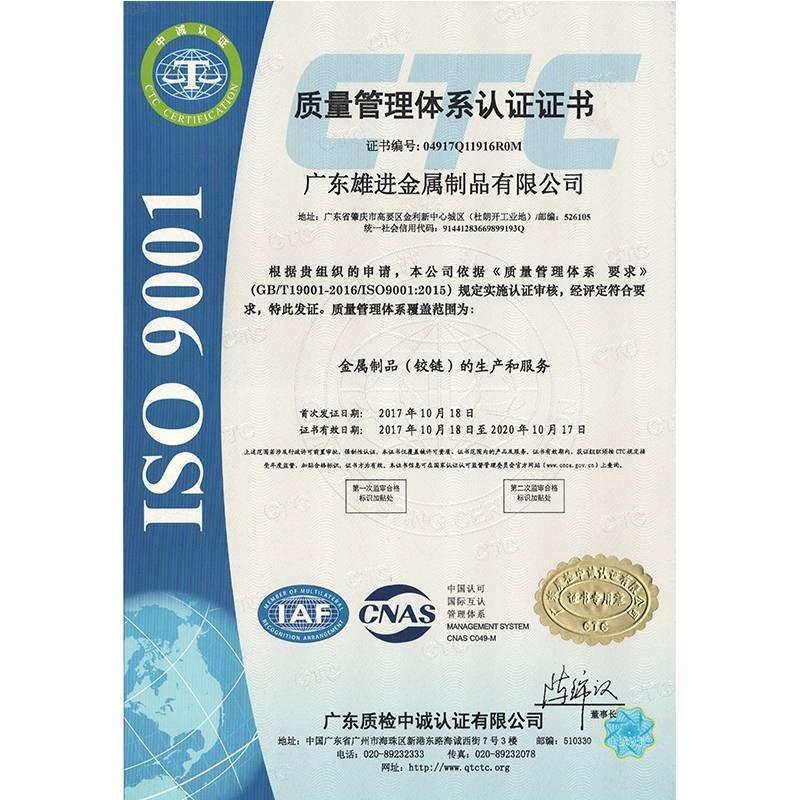 ISO 9001:2015质量管理体系认证  中文